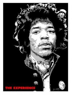 Laser Cut Engrave Jimi Hendrix Wall Art Free Vector