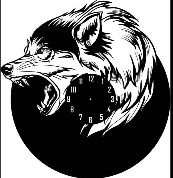 Laser Cut Wolf Shape Wall Clock EPS File