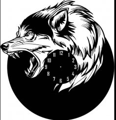 Laser Cut Wolf Shape Wall Clock Free Vector