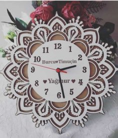 Wooden Laser Cut Clock Free Vector