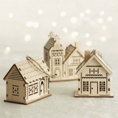 Laser Cut Decorative Wooden House Model Free Vector