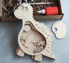 Laser Cut Wooden Dino Layered Art Kids Room Decor Free Vector