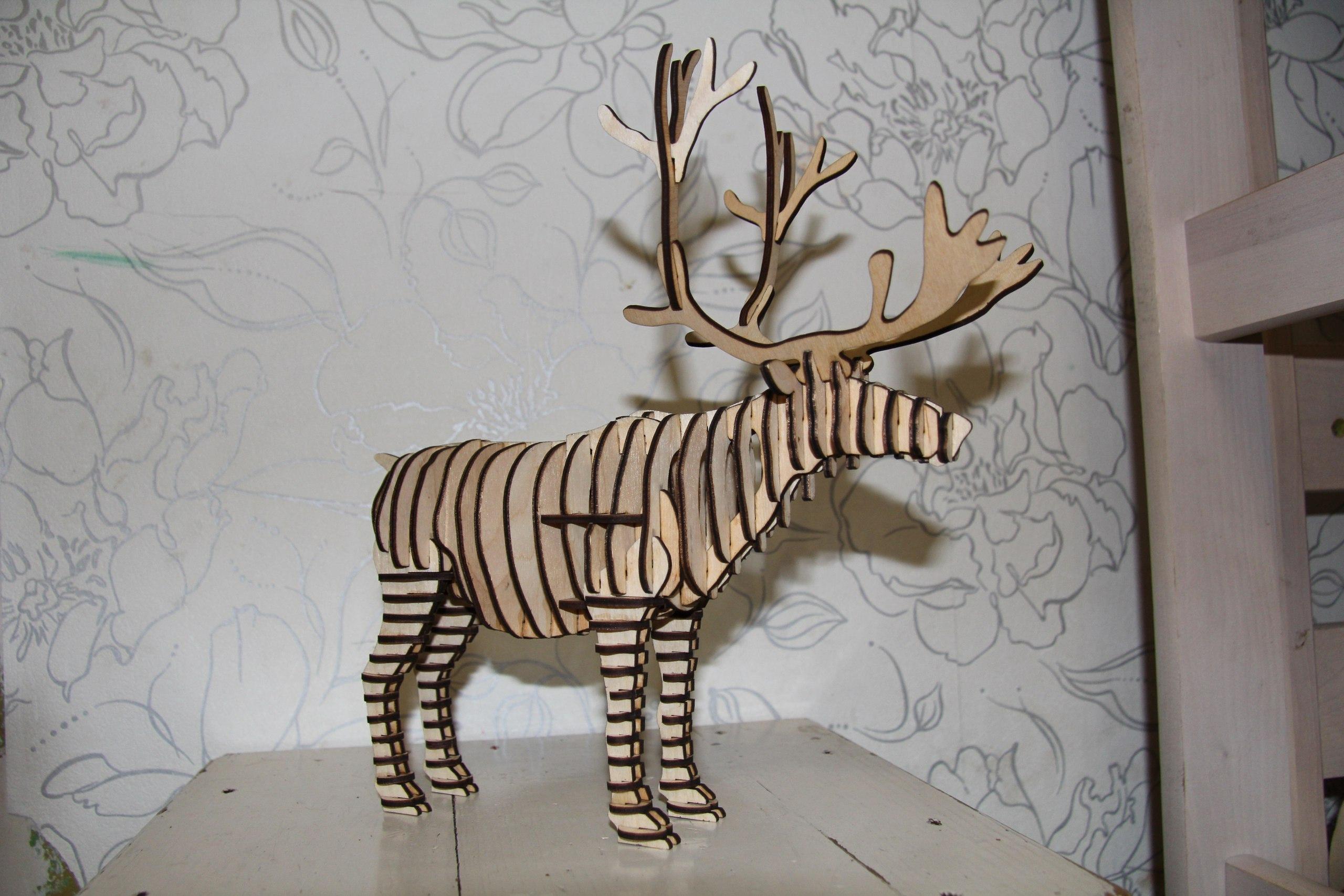 Laser Cut Reindeer 3D Animal Free Vector