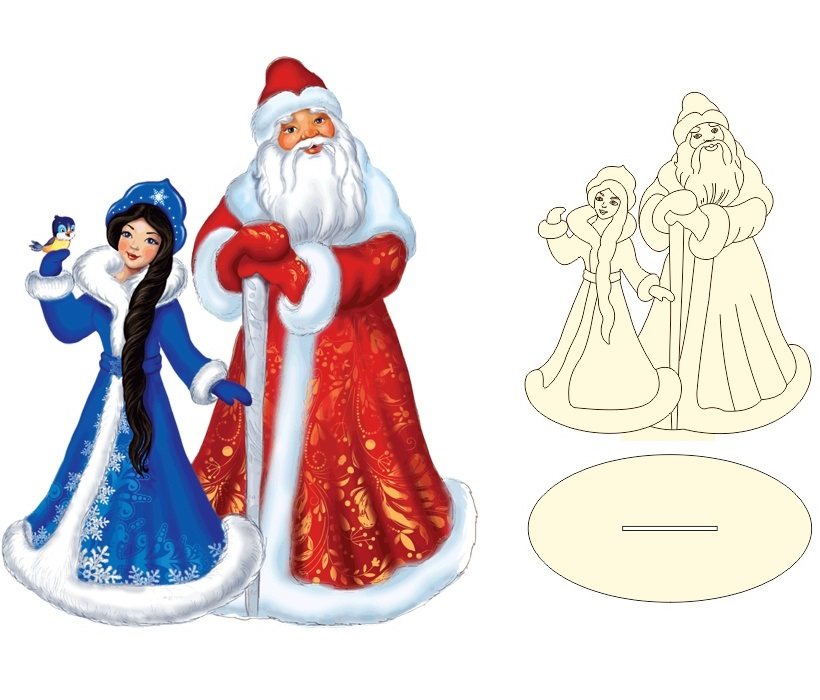 Laser Cut Santa Claus And Snowmaiden Christmas Decoration Free Vector