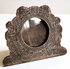 Laser Cut Round Wooden Photo Frame Decorative Engraved Free Vector
