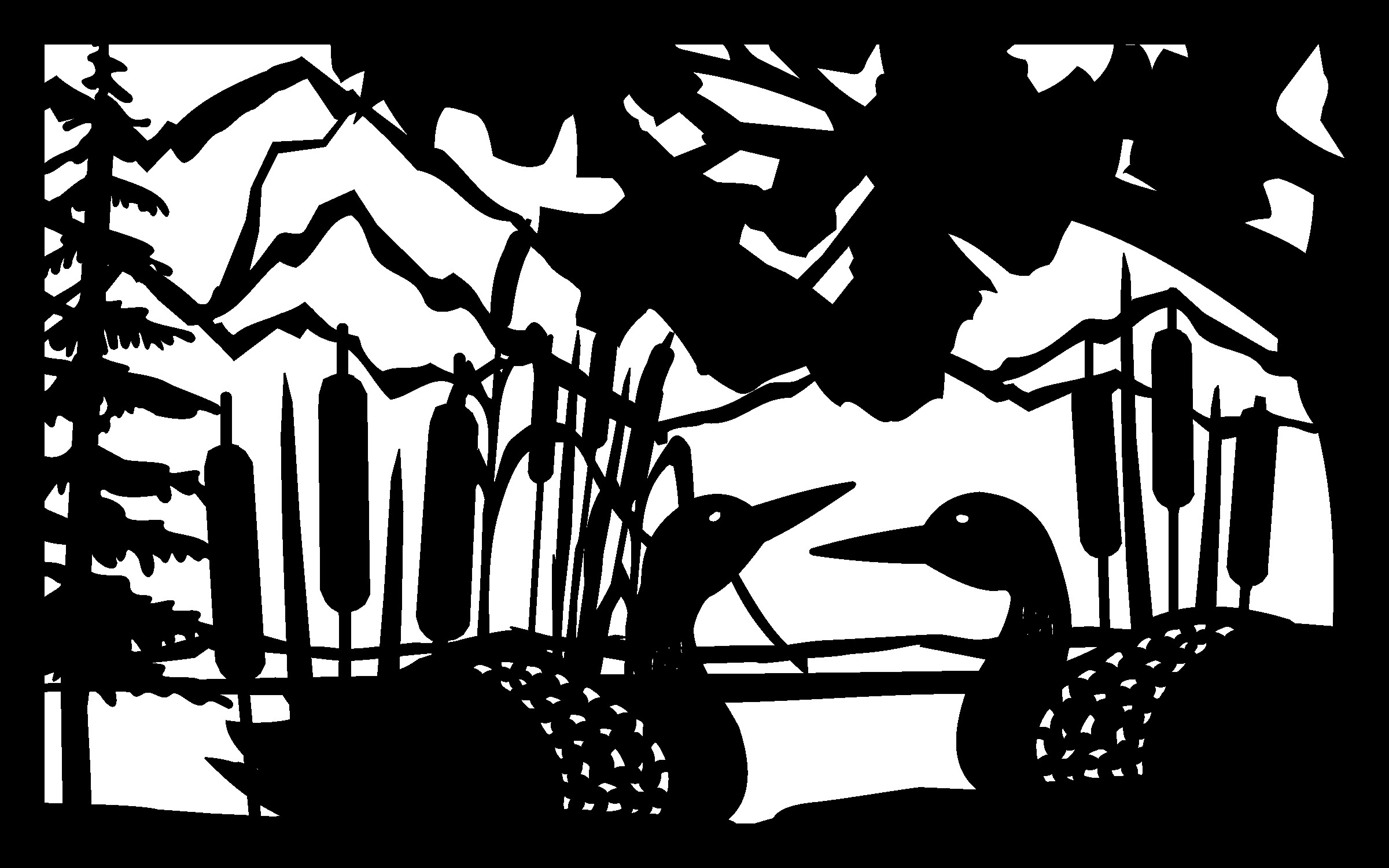30 X 48 Loon Panel Cattails Mountains Plasma Art DXF File