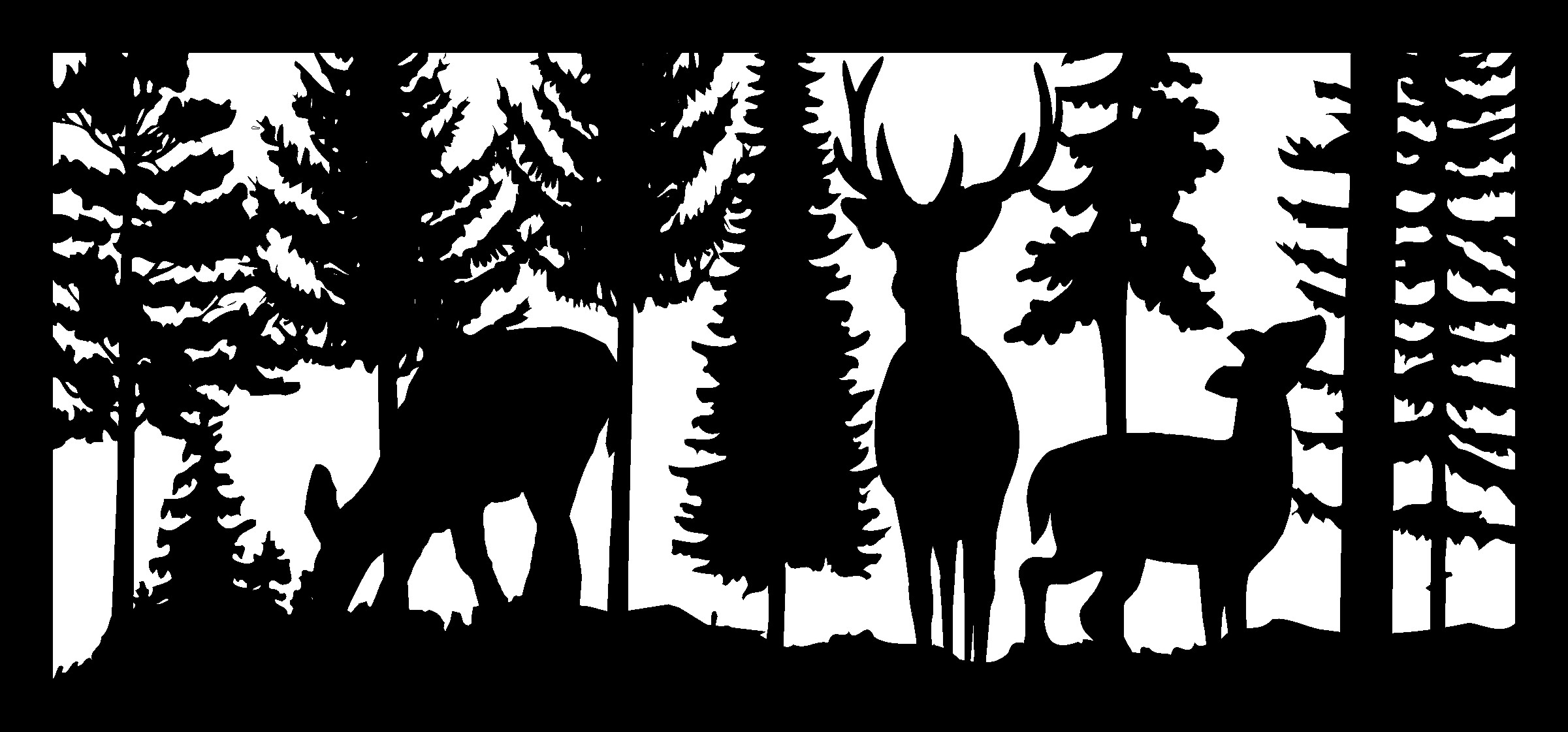 28 X 60 Buck Two Doe And Trees Plasma Art DXF File