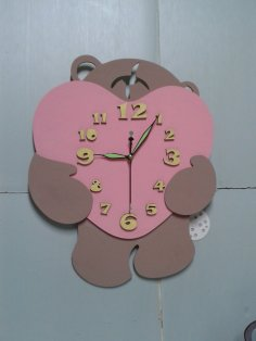 Bear Heart Wall Clock Laser Cut Free Vector