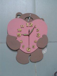 Bear Heart Wall Clock Laser Cut Free Vector