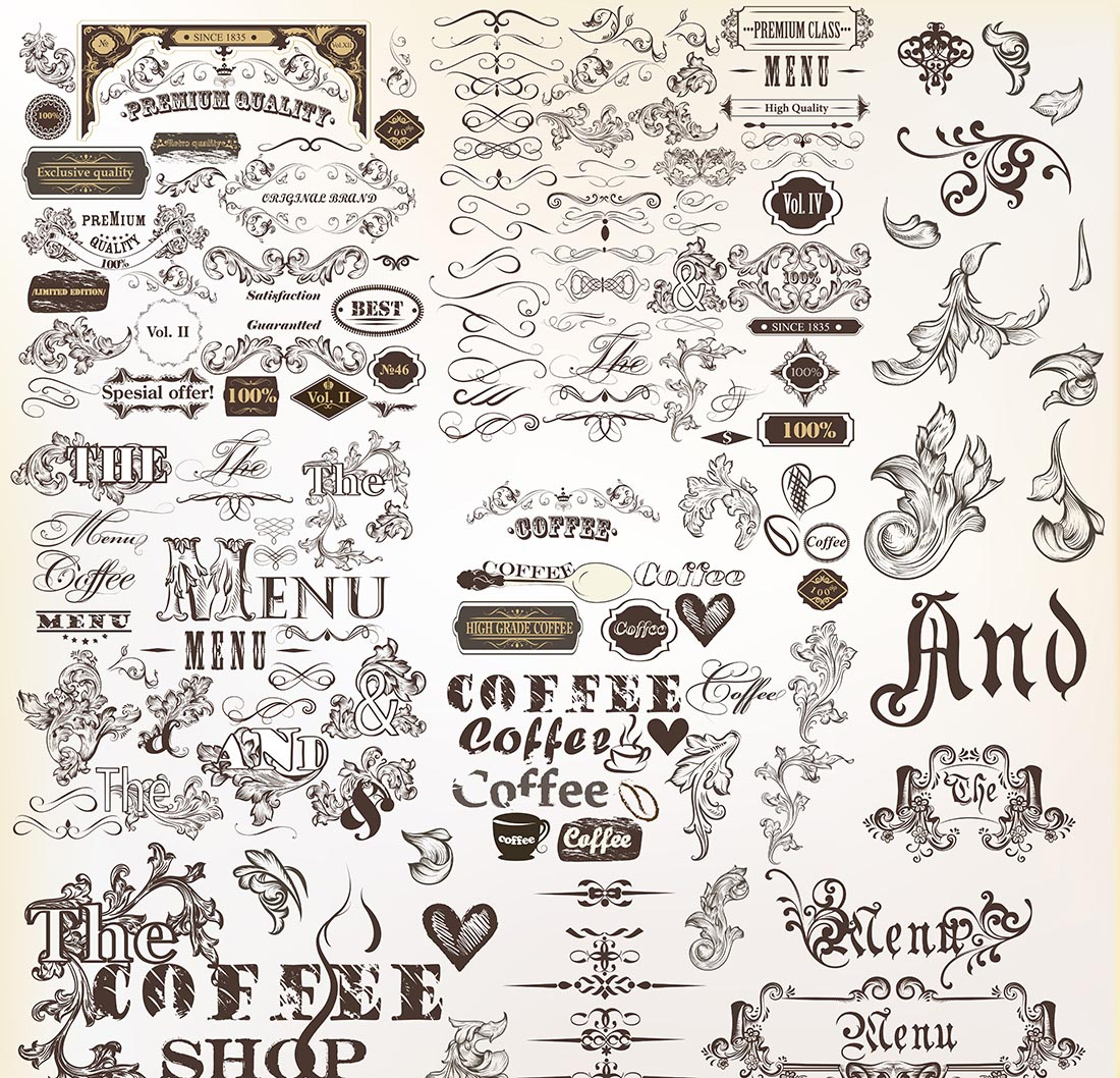 Vintage Decorative Elements and Ornaments Free Vector
