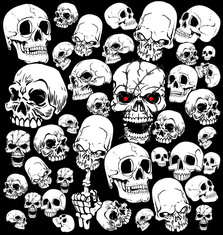 Horror Skull Vector Collection Free Vector