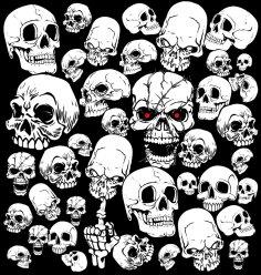 Horror Skull Vector Collection Free Vector