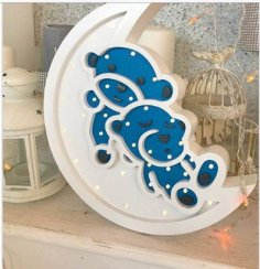 Laser Cut Bear Night Light Free Vector