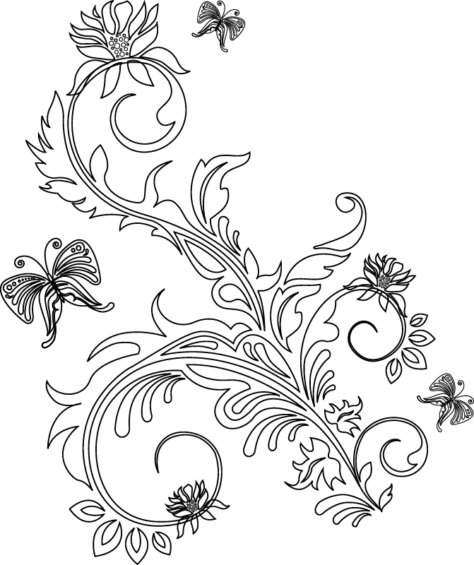 Vector Floral Line Art Free Vector