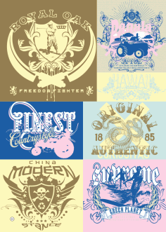 T-shirt Print Vintage Design Set Free Vector
