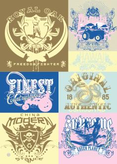 T-shirt Print Vintage Design Set Free Vector