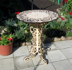 Home Decoration Ornamental Round Table DXF File