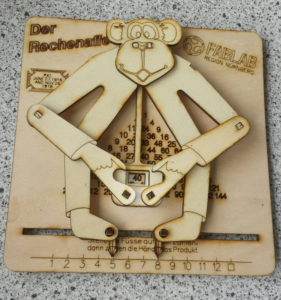 Laser Cut Educated Monkey Kids Toy Learning Small Number Multiplication 3mm Birch Plywood DXF File
