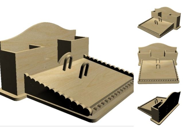 Laser Cut Wooden Desk Organizer DXF File