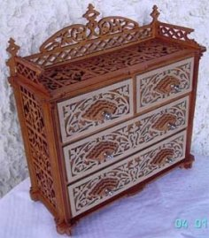Laser Cut Wooden Dresser Chest Of Drawers Free Vector