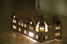 Laser Cut House Shaped Lamp DXF File