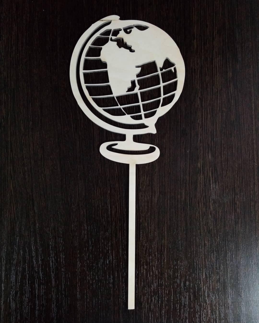 Laser Cut Globe Cake Topper Free Vector