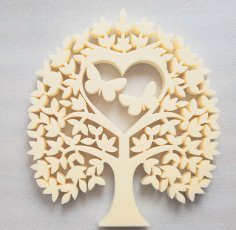 Laser Cut Heart Tree With Butterflies Tree Of Love Free Vector