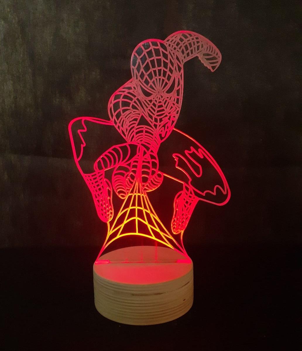 Laser Cut Spider Man LED Night Light 3D Lamp Free Vector