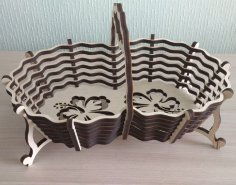 Laser Cut Candy Basket With Handle Free Vector