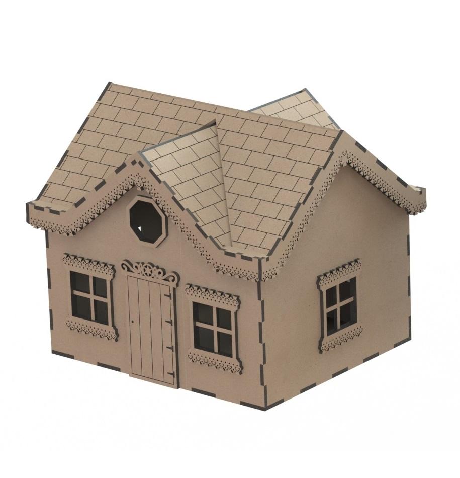 Laser Cut Wooden House Villa Model Kit Wooden Western House DXF File