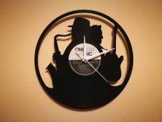 Orologio Vinile Clock Sax Chitarra dxf file