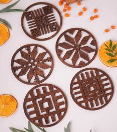 Laser Cut Drink Coasters Wooden Cup Coasters Free Vector