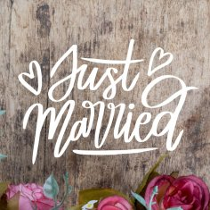 Laser Cut Engrave Just Married Decor Free Vector