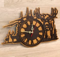 Laser Cut Forest Deer Wall Clock Hunting Wall Decor DXF File