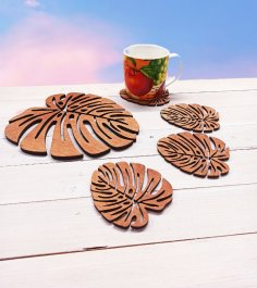 Laser Cut Wooden Decorative Tea Coaster Free Vector
