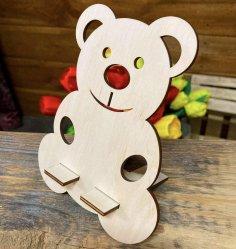 Laser Cut Wooden Teddy Bear Phone Holder Free Vector