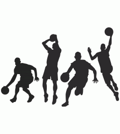 Silhouette of People Playing Basketball Free Vector