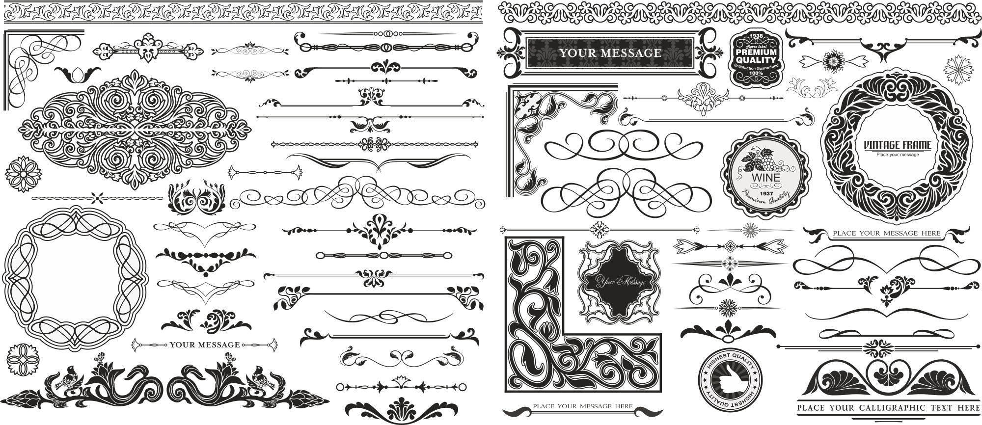 Swirl Dec Set Free Vector