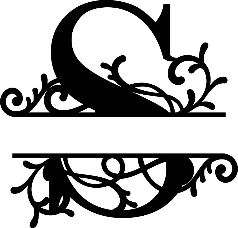 Split Monogram Letter S DXF File