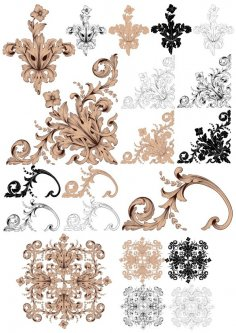 Decor Barroque Style Set Free Vector