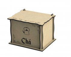Laser Cut Engraved Wooden Tea Box With Lid DXF File
