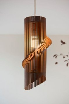 Laser Cut Wooden Wave Pendant Lamp Free Vector