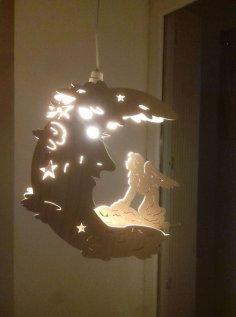 Laser Cut Fairy Moon Lamp Night Light DXF File