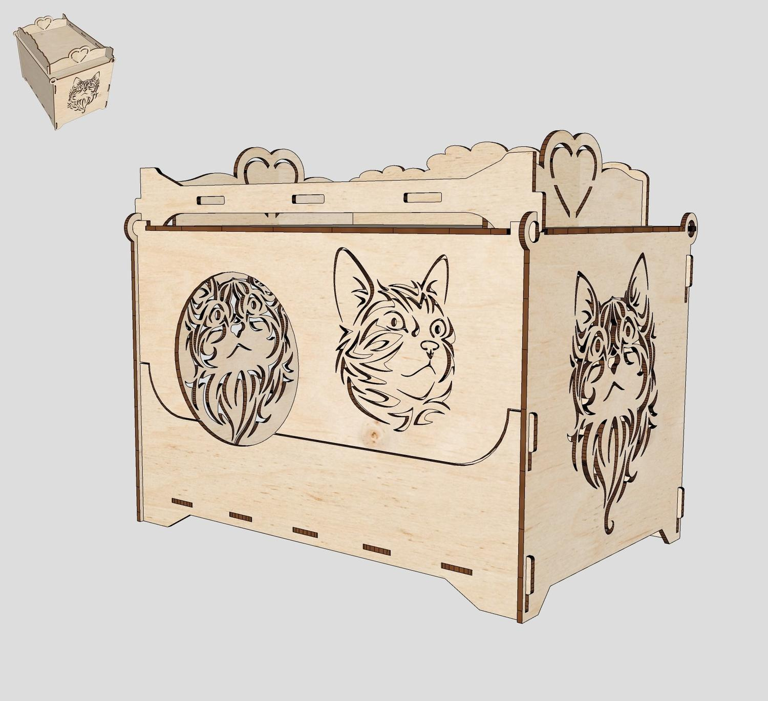 Cat House Laser Cutting Template Free Vector