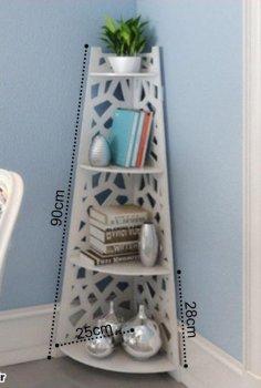 Laser Cut Corner Bookshelf Storage Organizer Free Vector