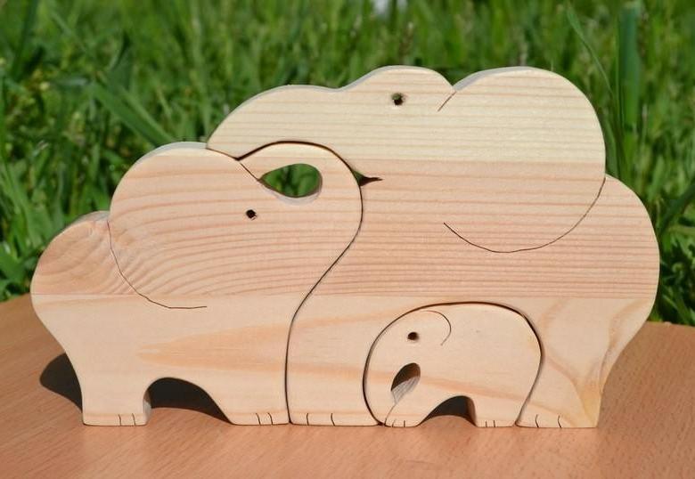 Laser Cut Wooden Elephants Jigsaw Puzzle DXF File