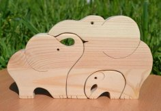 Laser Cut Wooden Elephants Jigsaw Puzzle DXF File