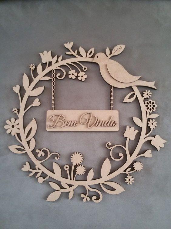 Laser Cut Car Decorative Plywood Wreath Bird Flowers Free Vector