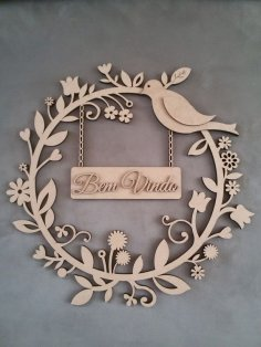 Laser Cut Car Decorative Plywood Wreath Bird Flowers Free Vector