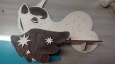 Laser Cut Wooden Cute Unicorn With Stars Shelf Free Vector